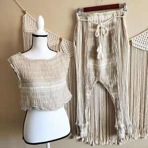 FREE PEOPLE Cream Striped Crop Top & Harem Pants S